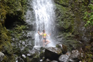 Girl Dancing in Waterfall